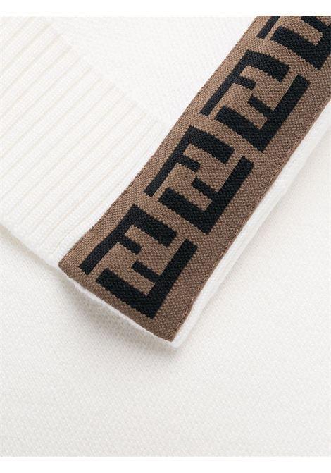 maglione in lana bianca con banda laterale FF marrone FENDI | Maglieria | FAE533-A8K2F0ZNM