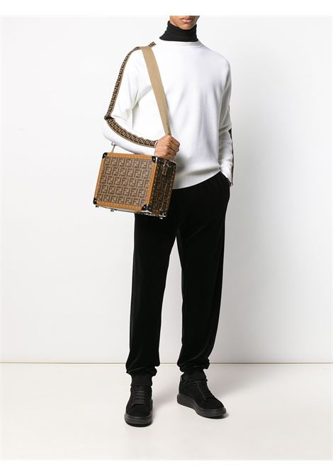 white wool FF side tape band jumper featuring ribbed crew neck FENDI |  | FAE533-A8K2F0ZNM