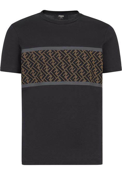 Black cotton perforated brown FF panel detail T-shirt  FENDI |  | FAF532-AD3CF0GME