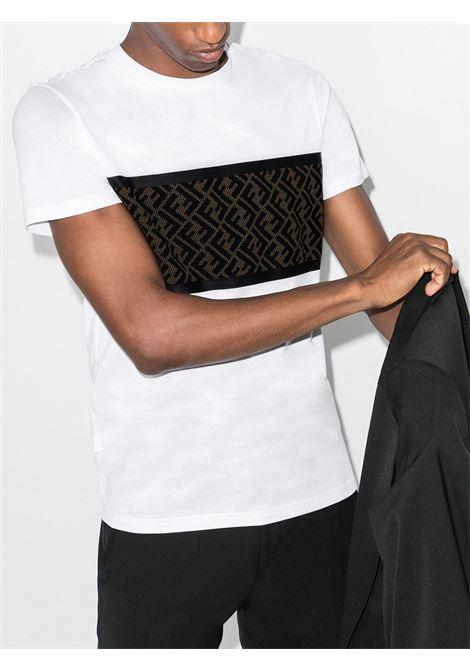 white mesh panel cotton t.shirt with brown perforated Fendi monogram  FENDI |  | FAF532-AD3CF0ZNM