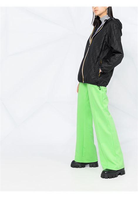 Giacca a vento reversibile Fendi x K-Way® in nylon nero con cappuccio FENDI | Giubbini | FAN019-AERRF0GME