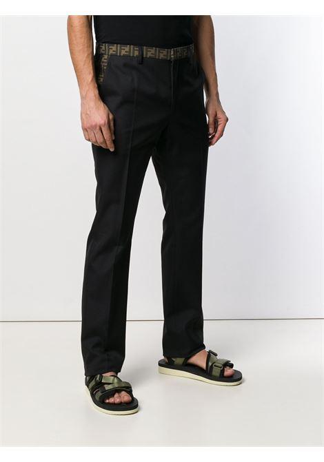 black cotton-blend Fendi logo trim trousers  FENDI |  | FB0366-A74QF0QA1