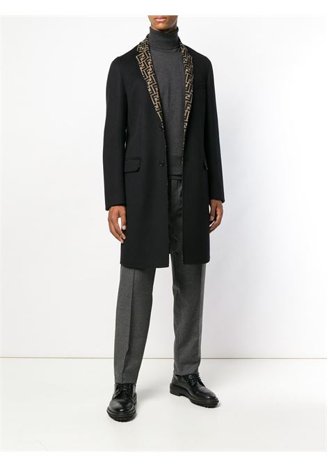 virgin wool sleek black single-breasted coat with internal lining with all-over FF motif. FENDI |  | FF0251-A4LJF0QE1