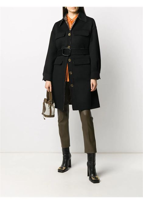 Black virgin wool blend belted single-breasted coat featuring front button fastening FENDI |  | FF8744-A5HDF0GME