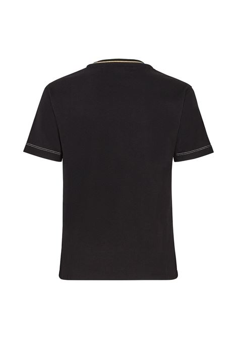 Black cotton t.shirt featuring embroidered yellow Fendi Roma logo FENDI |  | FS7254-AC6BF0GME