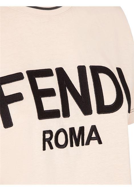 Pink cotton t.shirt featuring embroidered black Fendi Roma logo FENDI |  | FS7254-AC6BF1BW6