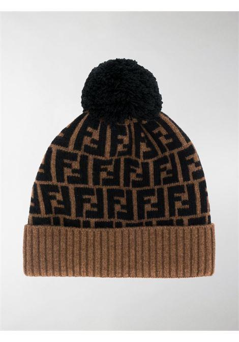 brown wool FF Fendi Pattern beanie featuring  pompom detail  FENDI      FXQ056-A40JF0QE1