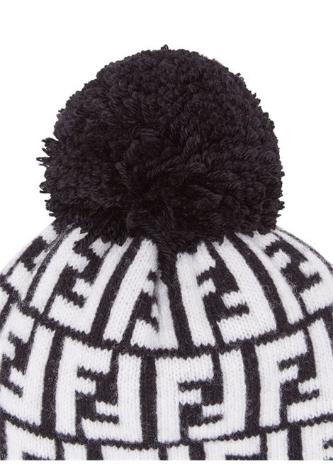 black and white wool FF Fendi motif beanie featuring pompom FENDI |  | FXQ056-A40JF0ZE7