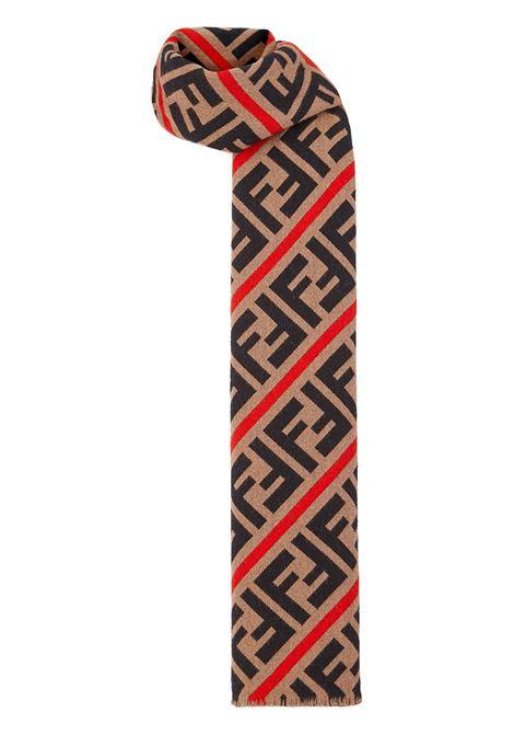 30x180 beige wool scarf with all-over Fendi motif  FENDI      FXS124-AA12F19SE
