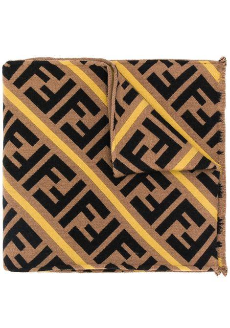 sciarpa beige, nera e gialla in misto lana vergine e seta con stampa FF Fendi all-over FENDI | Sciarpe e foulards | FXS124-AA12F19SG