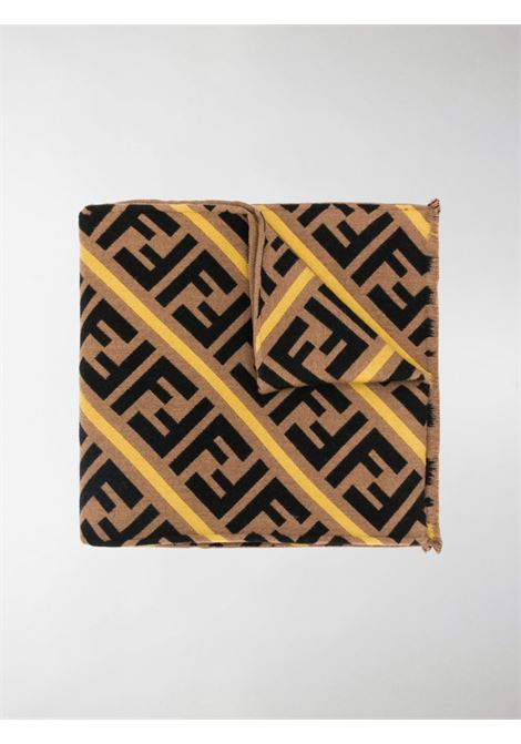 beige, black and yellow virgin wool-silk blend scarf featuring an all-over FF Fendi print FENDI |  | FXS124-AA12F19SG
