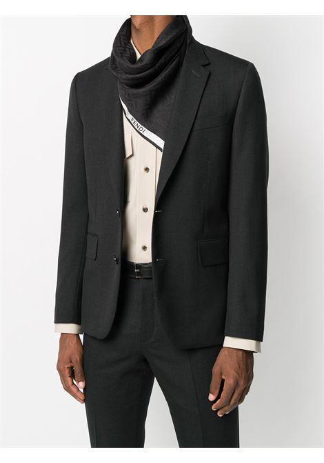 Kefia nera in lana e seta con banda bianca laterale con logo lettering Fendi FENDI | Sciarpe e foulards | FXS700-ACCVF0ZE7
