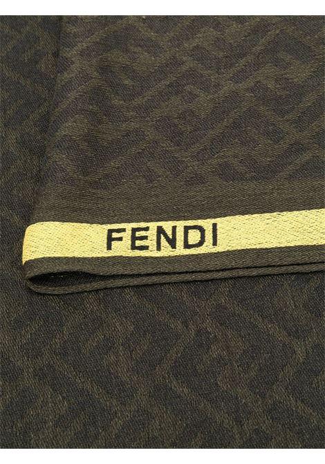 Black and soft yellow wool-silk blend kefia scarf featuring FF-logo print FENDI      FXS700-ACCVF1BMZ