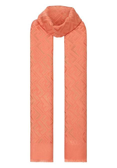 Sciarpa con monogramma jacquard 70x180 in seta arancione con motivo monogramma Fendi Zucca FENDI | Sciarpe e foulards | FXT085-5O8F1BGZ