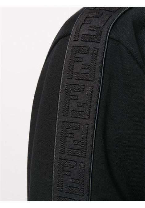 felpa nera con banda laterale nera a motivo FF FENDI | Maglieria | FY0178-A2F1F0QA1