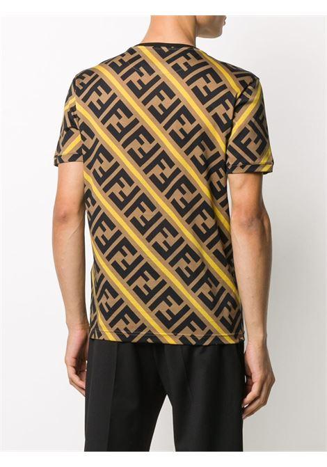 T-shirt in cotne con logo oversize FF Fendi marrone FENDI | T-shirt | FY0894-A7A8F0EER