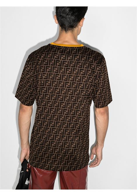 brown short sleeves t.shirt with all over FF Fendi Logomania print with yellow crew neck FENDI |  | FY0936-A6ZUF0QT1