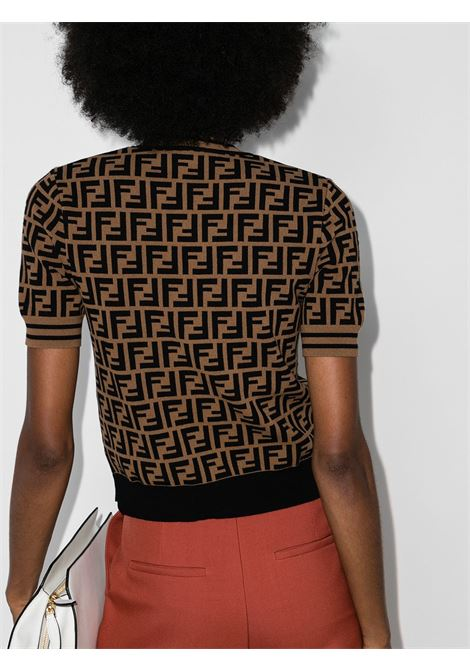Brown and black stretch-knit FF-print knitted top  FENDI |  | FZY702-A5QGF118W