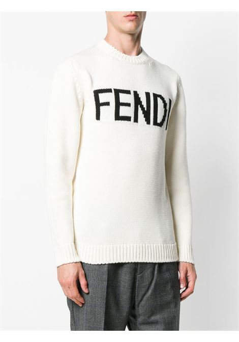 white knitted style intarsia knit jumper with black Fendi lettering logo FENDI |  | FZZ387-A3M3F0QA0