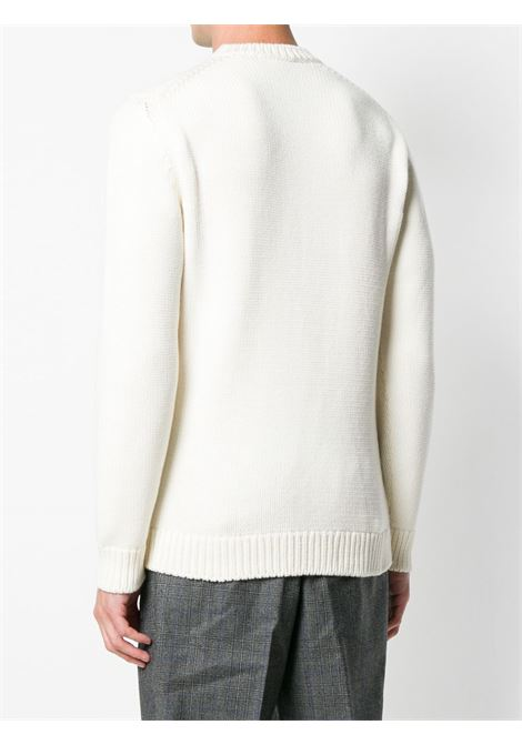 white knitted style intarsia knit jumper with black Fendi lettering logo FENDI |  | FZZ387-A3M3F0QA0