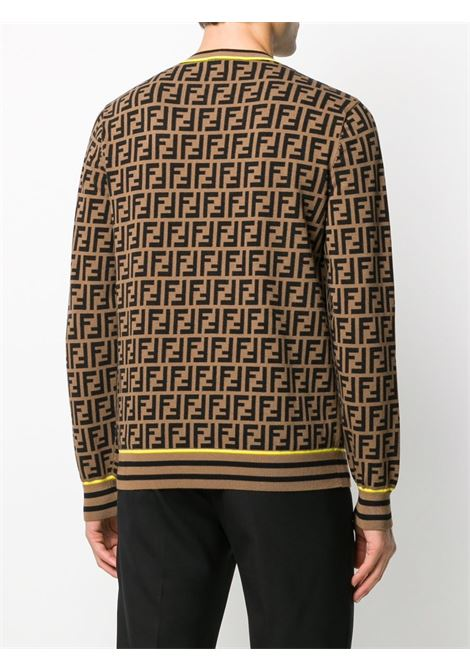wool blend light brown and black intarsia jumper  with an all-over FF logo pattern and contrasting yellow trim FENDI |  | FZZ481-AAV9F0WF0