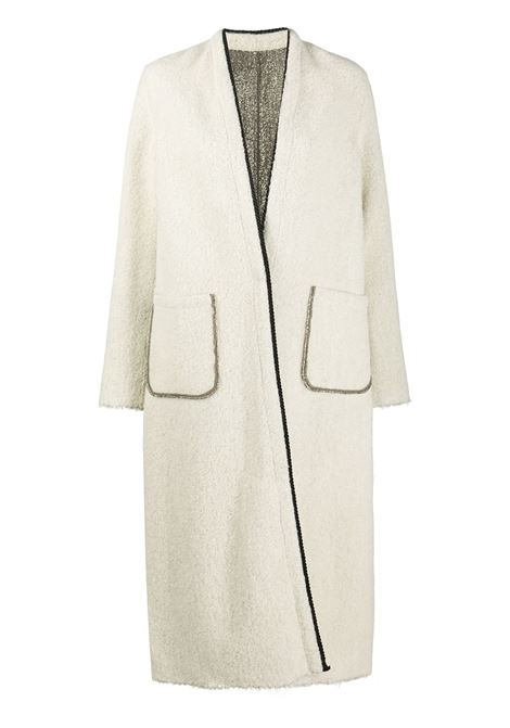 Ecru and silver-tone wool-blend reversible open front oversize coat FORTE_FORTE      7500BURRO