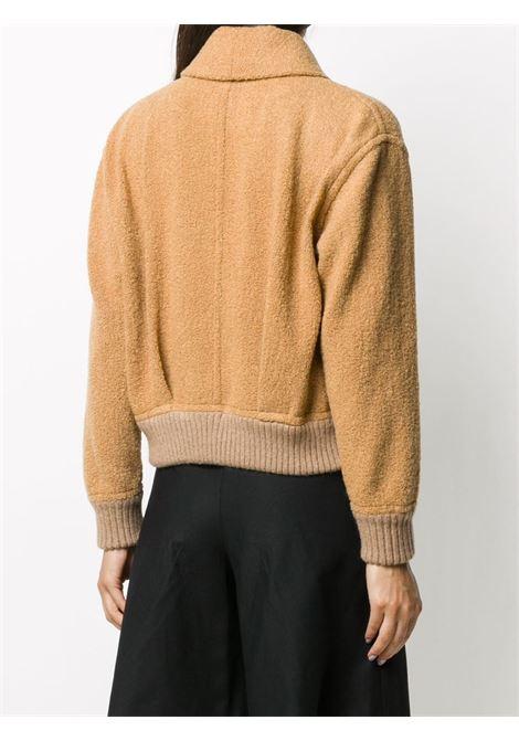 Giacca reversibile a pannelli metallici color cammello in misto lana con revers a scialle FORTE_FORTE   Giubbini   7501CAMMELLO
