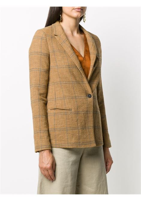 Beige and blue virgin wool-blend checked single-breasted blazer FORTE_FORTE |  | 7510OTTANIO