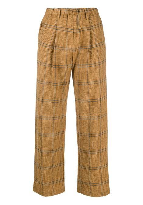 Pantaloni marroni in misto lana-cotone con motivo check FORTE_FORTE | Pantaloni | 7511OTTANIO