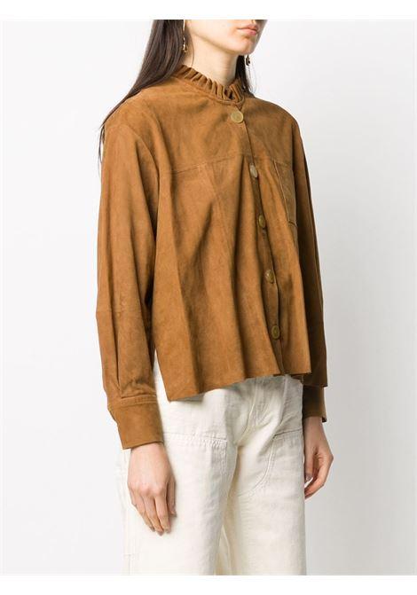 Camel suede ruffle trim suede shirt  FORTE_FORTE |  | 7514CARAMELLO