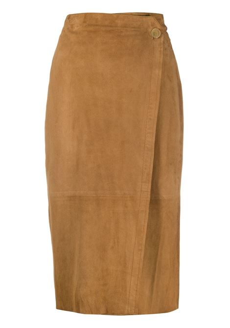 Brown suede slim-fit pencil skirt FORTE_FORTE |  | 7516CARAMELLO