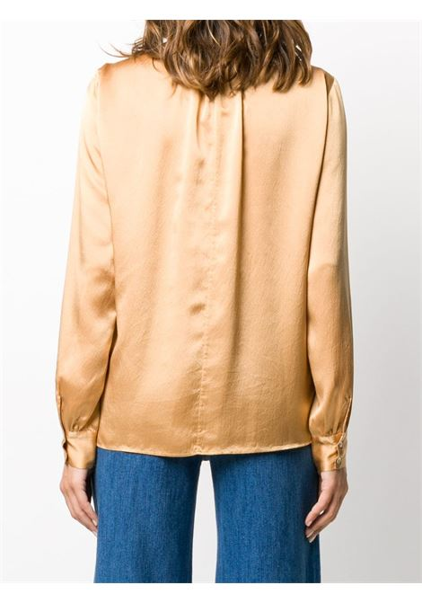 Gold-tone silk pussy-bow long sleeve blouse   FORTE_FORTE |  | 7553CAMMELLO