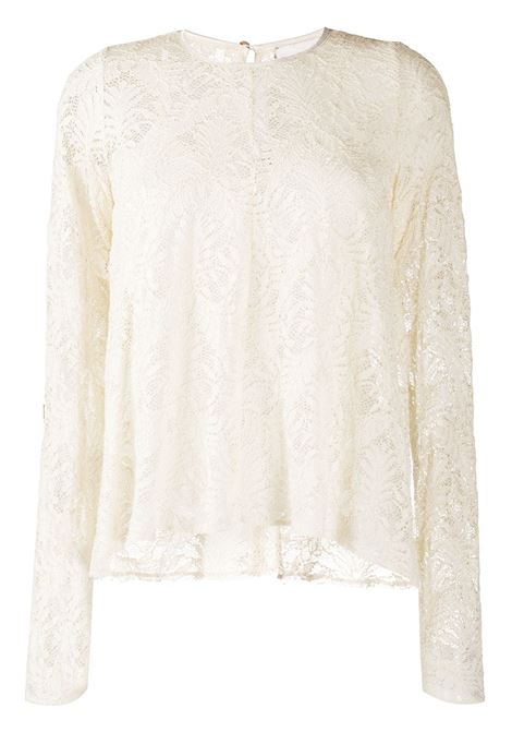 beige cotton layered lace blouse featuring floral-lace detailing FORTE_FORTE |  | 7566BURRO