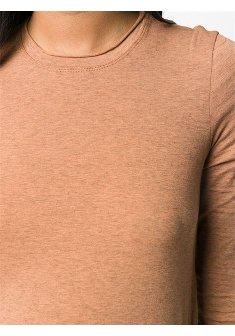 cynnamon brown cotton-cashmere blend rolled trim long-sleeved T-shirt  FORTE_FORTE |  | 7609CANNELLA