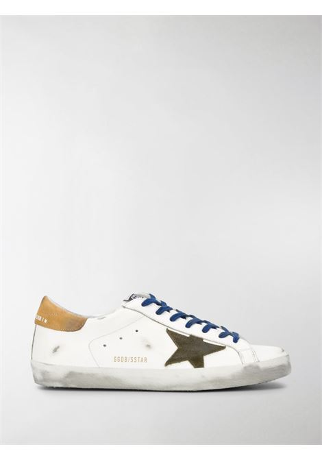 White calf leather Superstar low-top sneakers with dark green side star patch and yellow detail GOLDEN GOOSE |  | GMF00101-F00036810289