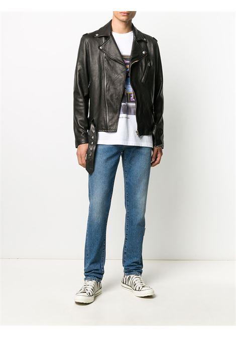 Black leather belted waist biker jacket   GGDB |  | GMP00297-P00019690100