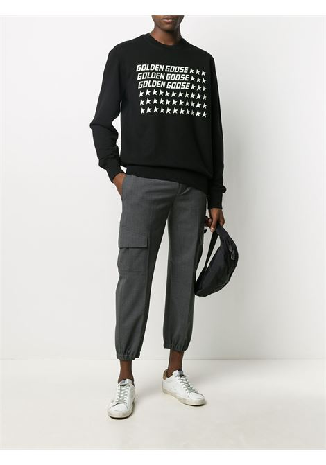 black cotton crewneck sweatshirt with white printed Golden Goose logo with stars GOLDEN GOOSE |  | GMP00472-P00029990191