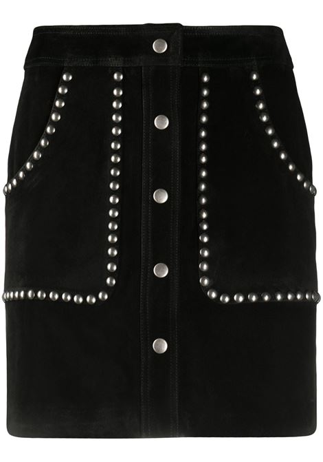 Black bovine leather studded A-line mini skirt  GOLDEN GOOSE |  | GWP00187-P00015490100