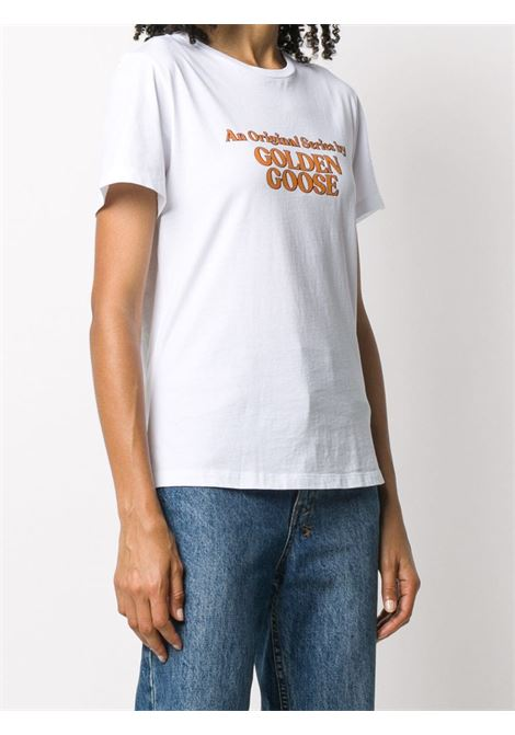 white cotton t.shirt with front yellow an original series by golden goose print GGDB |  | GWP00476-P00018710272