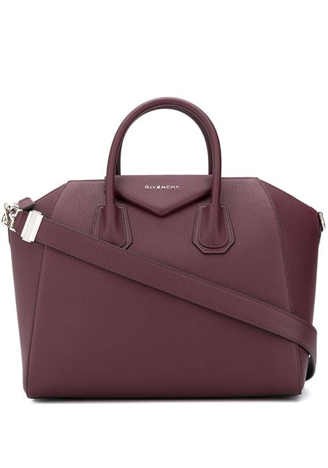 Bordeaux goatskin Antigona leather tote bag from  featuring silver-tone Givenchy logo lettering GIVENCHY |  | BB05118012-ANTIGONA542