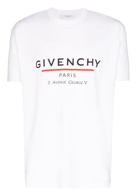 cotton-jersey crew-neck style t.shirt with Givenchy flagship store address in Paris printed in black GIVENCHY |  | BM70U23002100