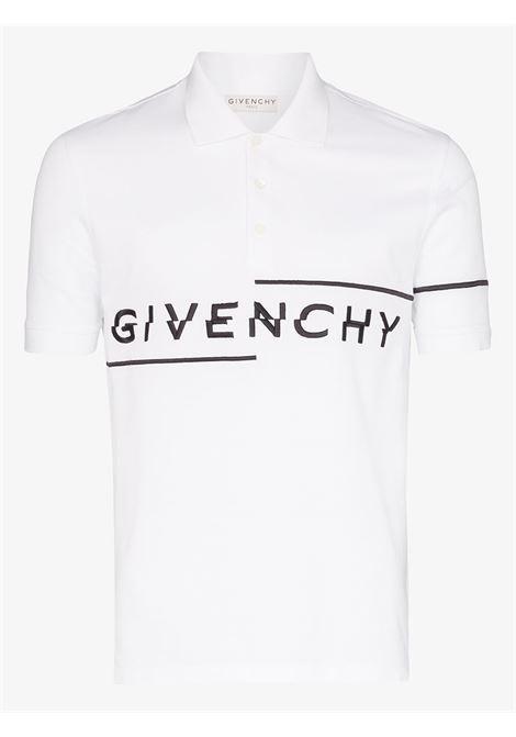 polo in misto cotone bianco con logo asimmetrico Givenchy nero GIVENCHY | Maglieria | BM70U63006100