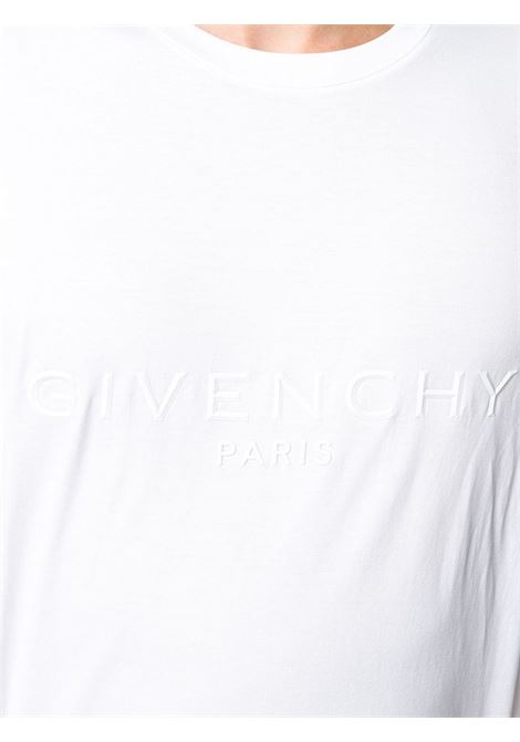 white cotton embroidered Givenchy logo t-shirt featuring tonal stitching GIVENCHY |  | BM70YN3002100