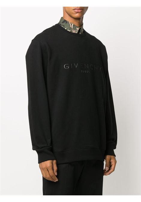 felpa nera in cotone con logo scurito e gommato Givenchy GIVENCHY | Felpe | BMJ07Z30AF001