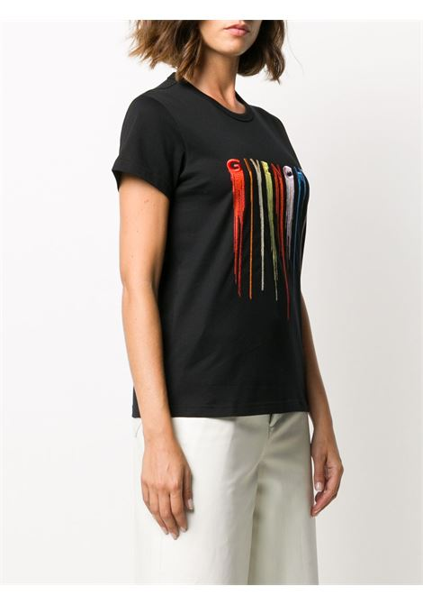 t.shirt nera in cotone con logo Givenchy multicolore ricamato effetto vernice GIVENCHY | T-shirt | BW707Y3Z3R001