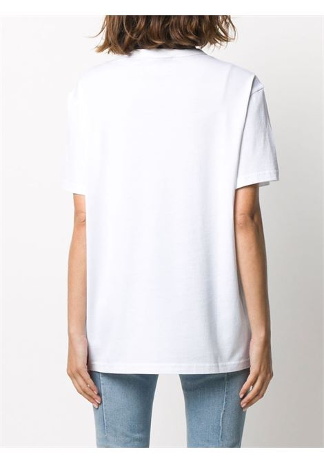 white cotton T-shirt with front black and sky blue Givenchy logo GIVENCHY |  | BW707Z3Z3Q100