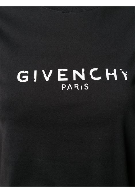 t-shirt in cotone nero con stampa logata Givenchy bianca effetto antico GIVENCHY | T-shirt | BW708H3Z0Y001