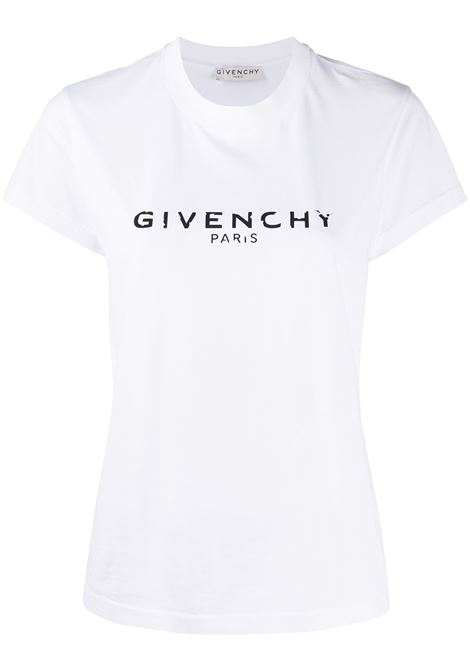t.shirt relaxed fit in cotone bianco con logo vintage effect Givenchy GIVENCHY | T-shirt | BW708H3Z0Y100