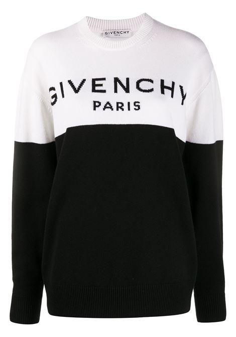 maglione con logo Givenchy bicolore in cashmere bianco e nero GIVENCHY |  | BW90AE4Z7H004