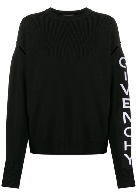 black wool logo knit jumper featuring crew neck with white lettering Givenchy logo on the long sleeves GIVENCHY |  | BW90AH4Z7K004
